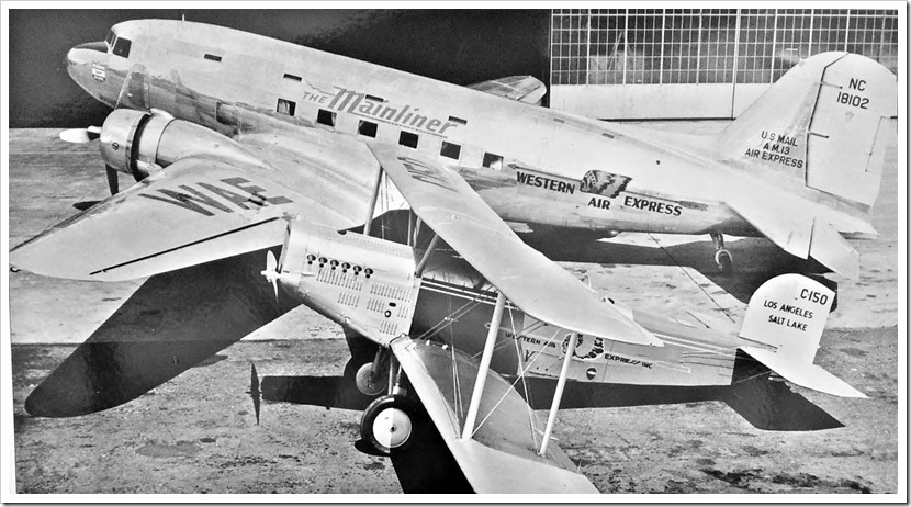 The Mainliner and a M-2 mail plane in Santa Monica, 1941