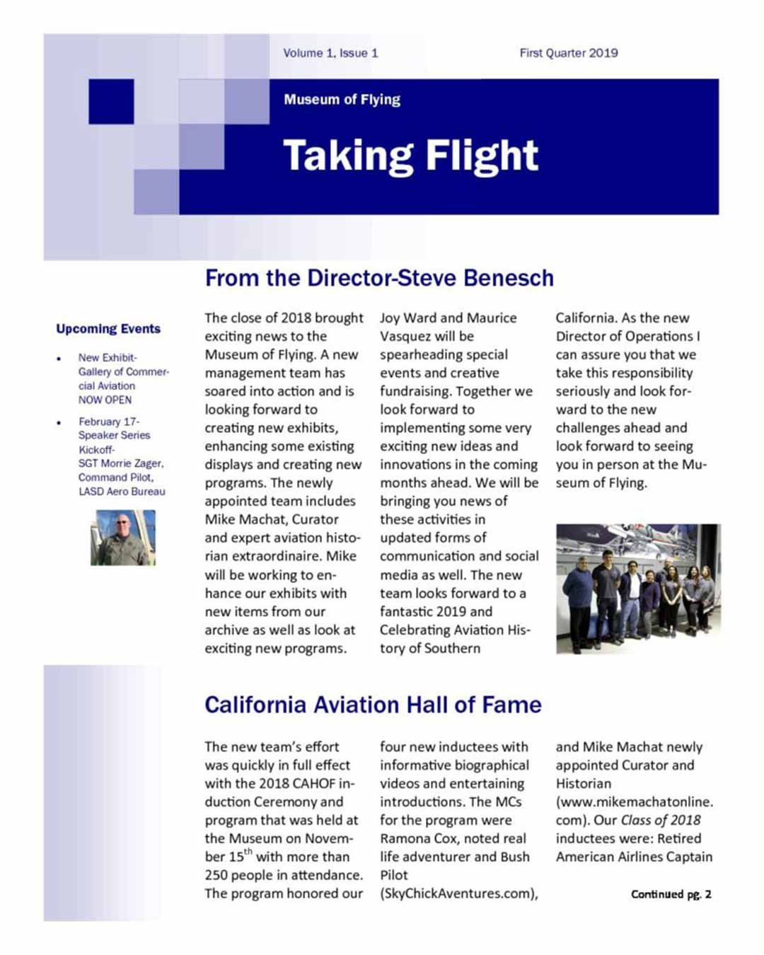 Taking Flight Newsletter - 2019 1st Quarter