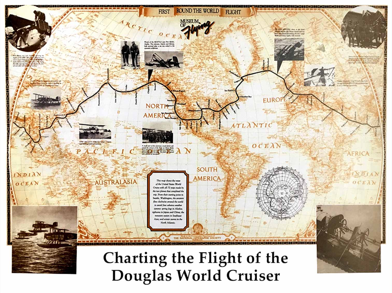 Route of the first around-the-world flight in the Douglas World Cruiser | Museum of Flying